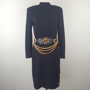 St. John Black Dress with Gold Chain Belt sz 4